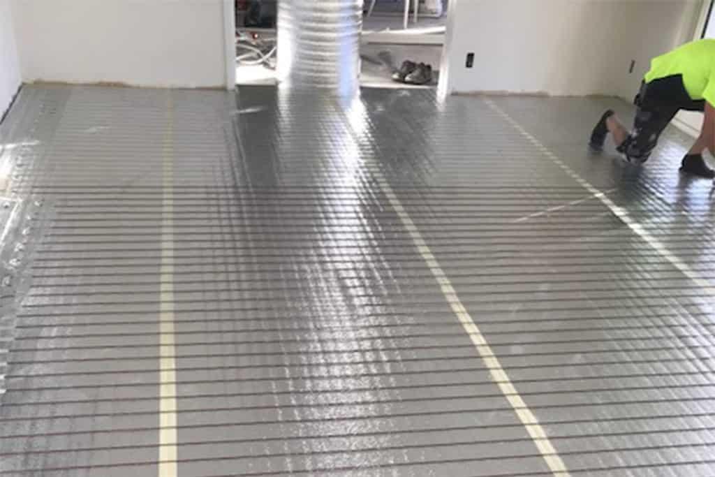 Under laminate heating installation in Christchurch.