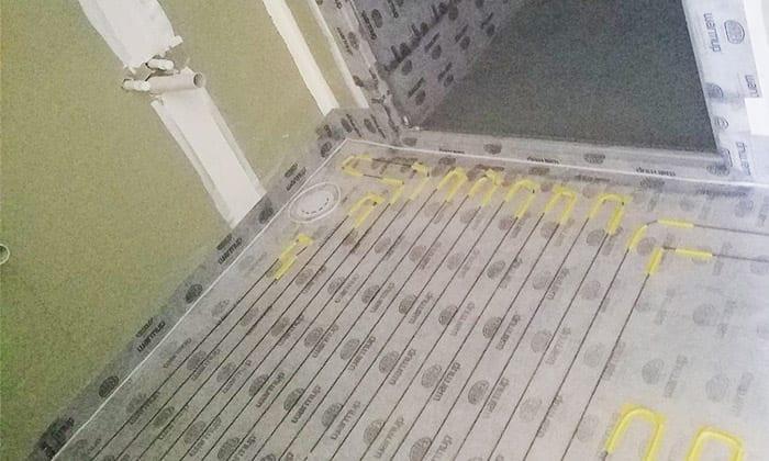 Warmup electric underfloor heating wire installed