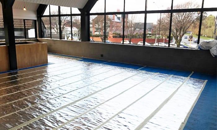 Warmup undercarpet heating mat installed